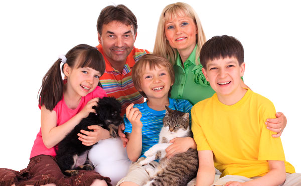 Young family with kids and pets